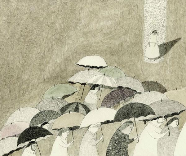 dos 30 Ilustraciones en la lluvia