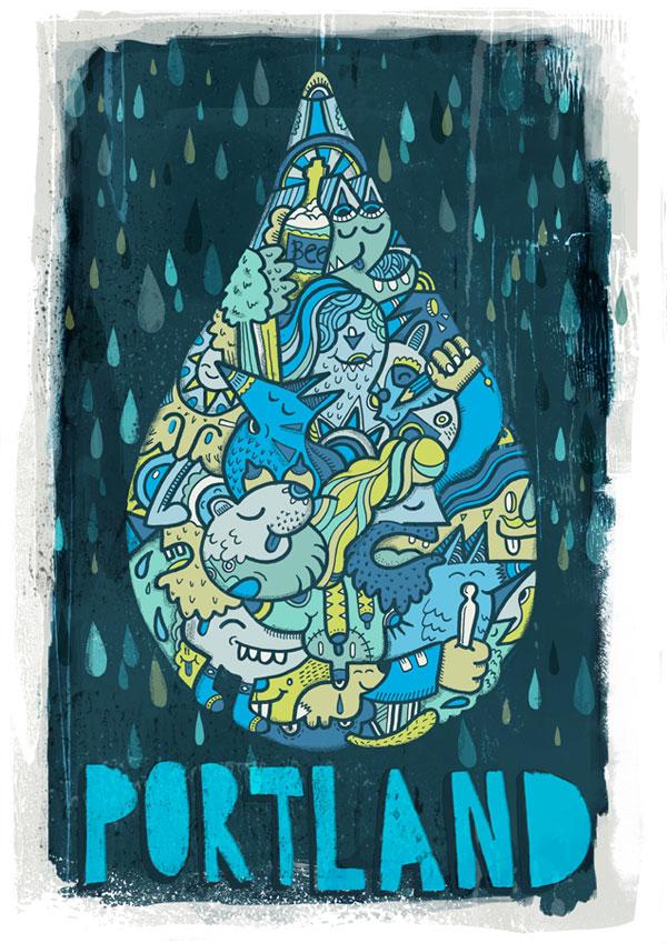 portland 30 Ilustraciones en la lluvia