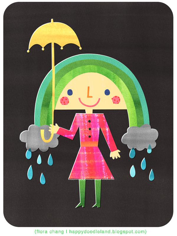 rainbowgirl 30 Ilustraciones en la lluvia