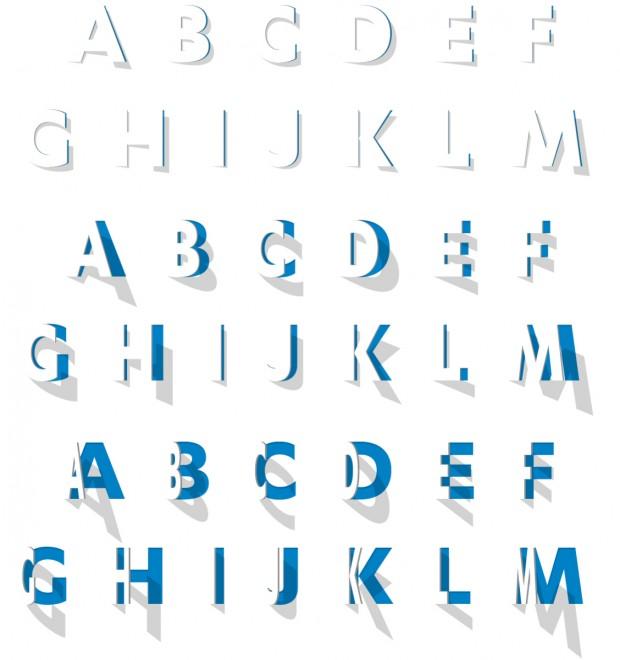 El alfabeto desarrollado con sus variantes se van abriendo dinámicamente en pasos