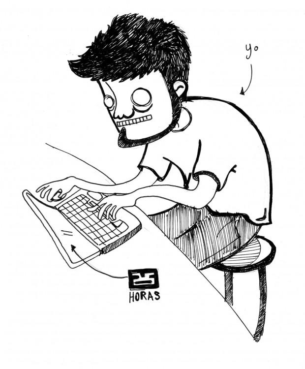 Autorretrato representando la realidad de mi ser en el presente. El dibujo es del año pasado cuando aún no usaba lentes.