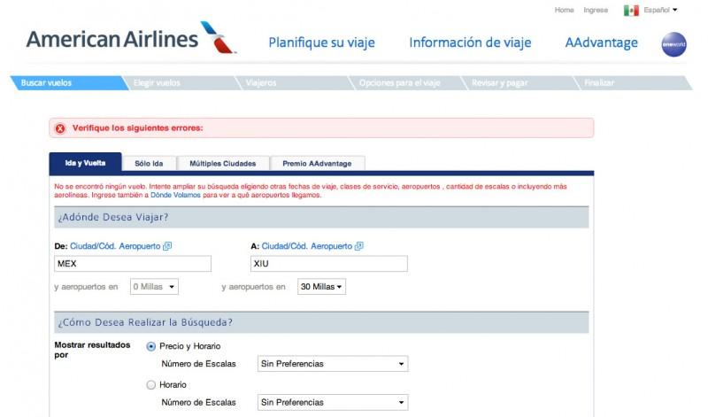 En American Airlines quise realizar un intento de itinerario pero el sistema no me ayudó en lo absoluto a encontrar alguna fecha disponible ni un aeropuerto a la redonda... me rendí