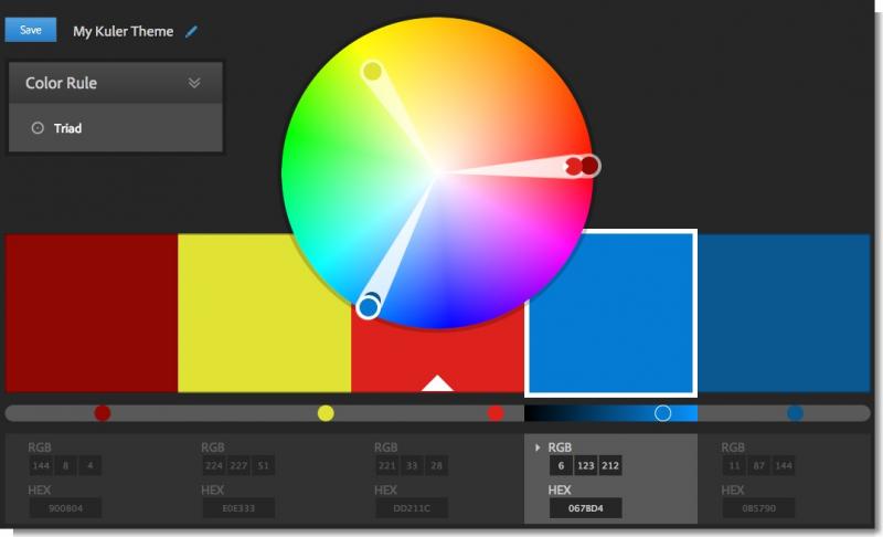 Paleta de colores utilizada para 25Horas, creada en Kuler.
