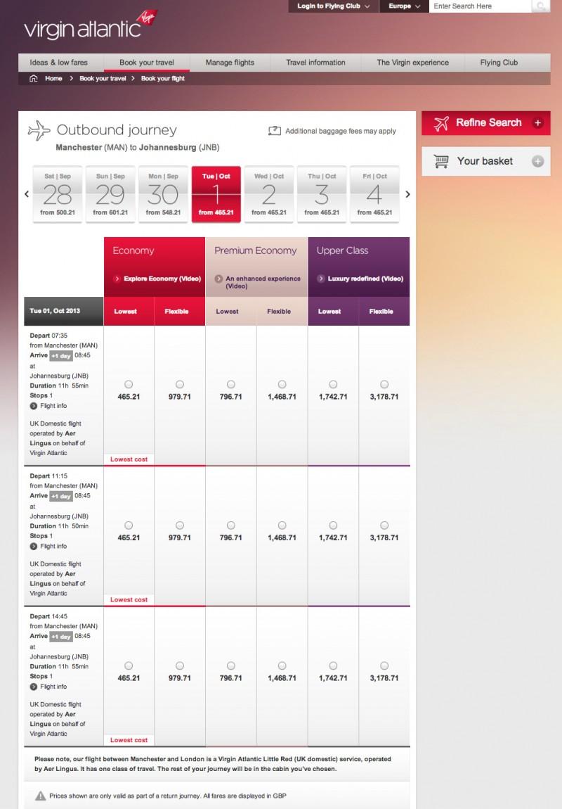Virgin Atlantic tiene una interfaz más agradable a la vista y sus guías visuales son mucho más claras y cómodas.