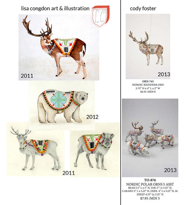 Comparativa del plagio cometido por Cody Foster & Co. en contra de Lisa Congdon. Imagen tomada de FastCoDesign