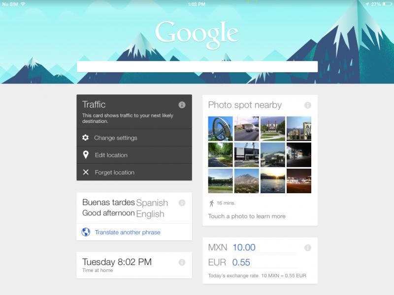 Vista general de Google Now que se ha adecuado a mis búsquedas generales y ubicación