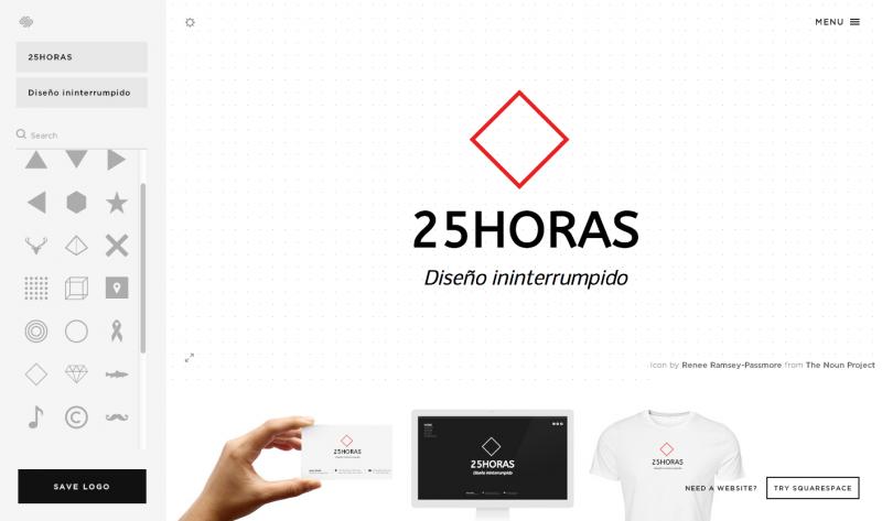 Logo de 25Horas diseñado en 2 minutos con la ayuda de Squarespace